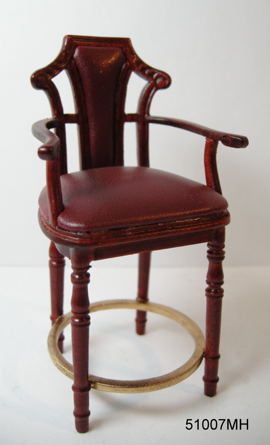 51007MH Burgundy Leather Bar Stool - mahogany