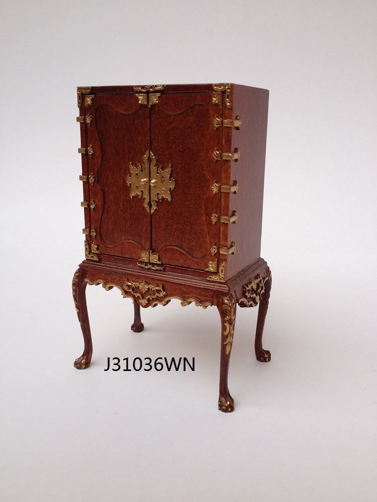 Chinese Chippendale Cabinet on Cabriole Legs - walnut